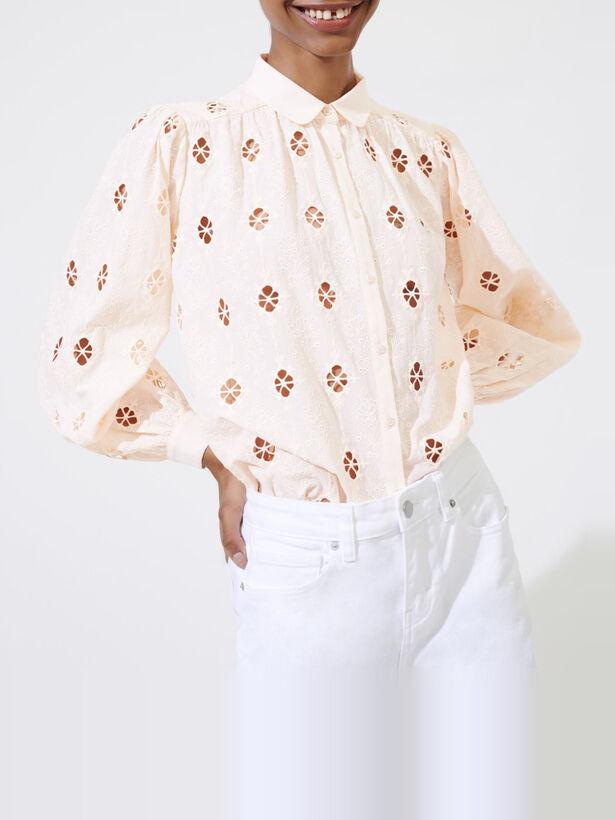 마쥬 꽃 자수 퍼프 소매 플레어 셔츠 MAJE 220CALEEN Bluse mit Lochstickerei