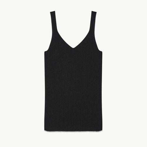 Ärmelloses T-Shirt aus Rippenstrick - Strickwaren - MAJE