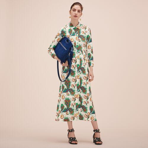 Langes Hemdkleid mit Print - Kleider - MAJE