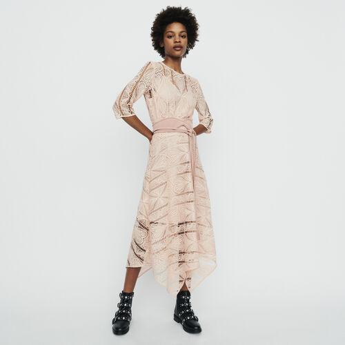 마쥬 RIPAZ 롱 원피스 핑크 MAJE RIPAZ Long dress in guipure - Rosa