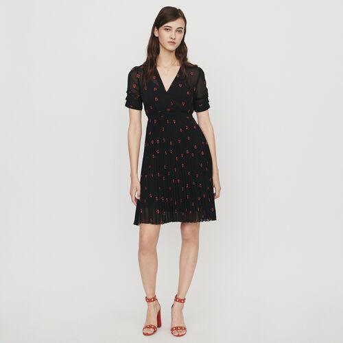 마쥬 RENGIA 원피스 하트 자수 블랙 MAJE RENGIA Dress with hearts embroidery - Schwarz
