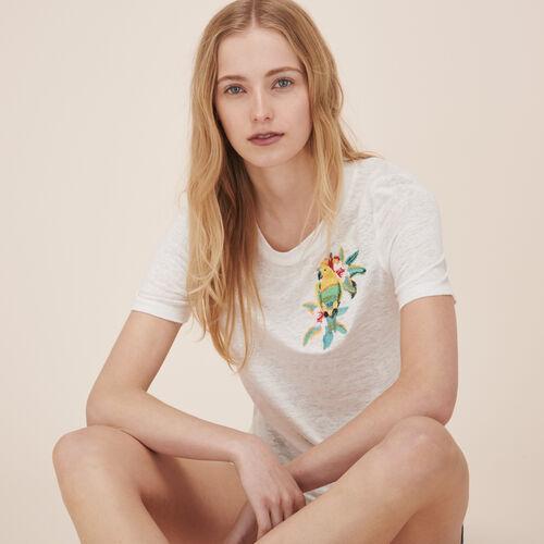 T-Shirt aus Leinen mit Stickerei - Tops - MAJE