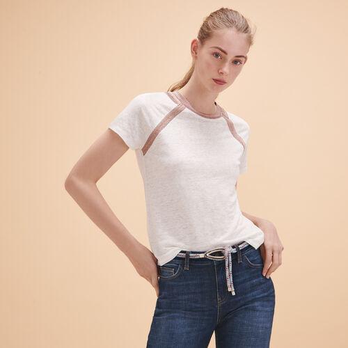 T-Shirt aus Leinen mit Lurexdetail - Tops - MAJE