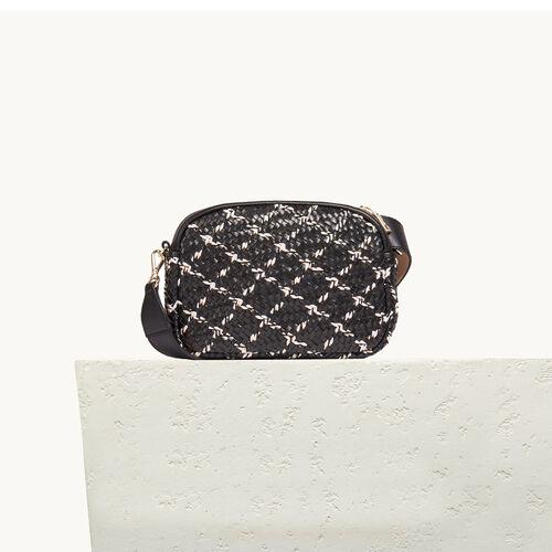 Runde Tasche mit Flechtdetails - Schultertaschen - MAJE