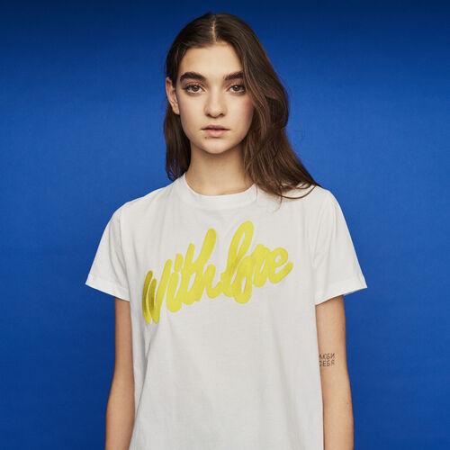 마쥬 TRESSA 반팔 티셔츠 MAJE TRESSA T-Shirt mit gestickter Aufschrift - Weiss