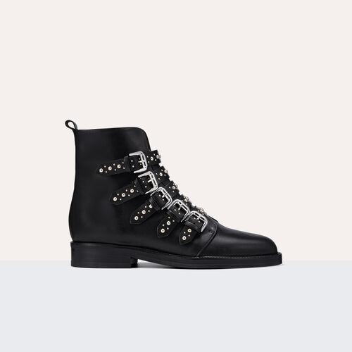 Stiefeletten aus Leder mit Nieten - Schuhe - MAJE