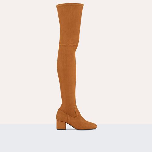 Flache Overknee-Stiefel aus Veloursleder - Schuhe - MAJE