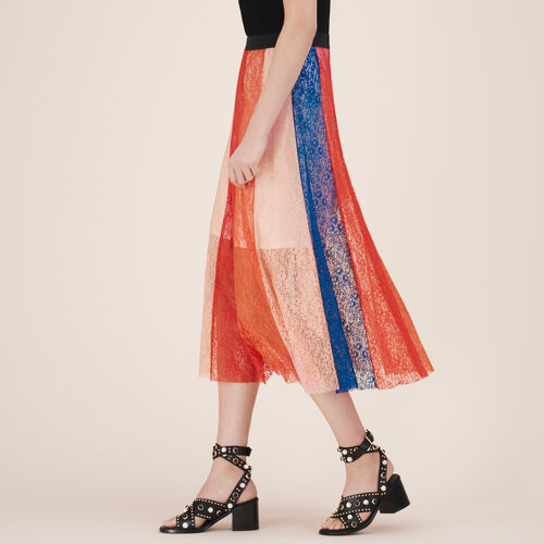 Langer Rock mit Spitzenstreifen - Röcke & Shorts - MAJE
