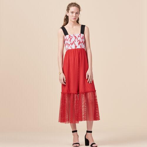 Langes Kleid aus Materialmix - Kleider - MAJE