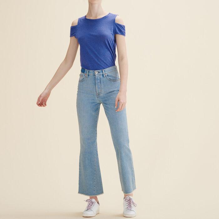 T-Shirt aus Leinen mit freien Schultern -  - MAJE