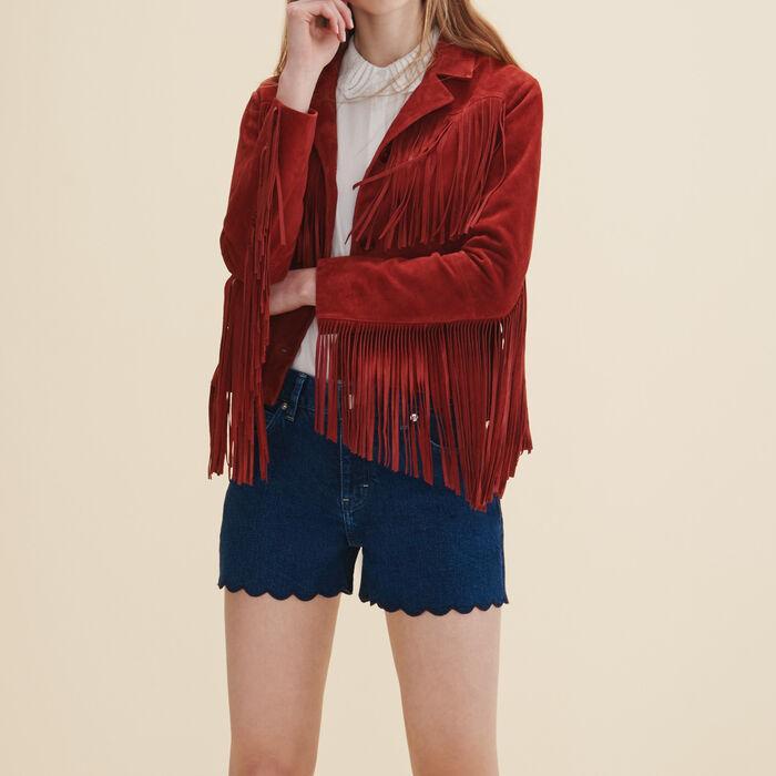 Jacke aus Leder mit Fransen -  - MAJE