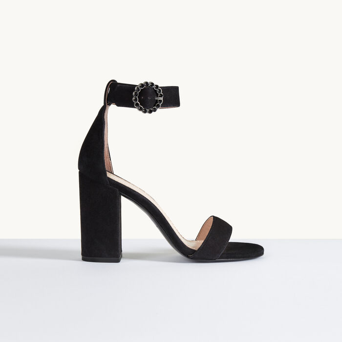 Absatz-Sandale aus Veloursleder -  - MAJE