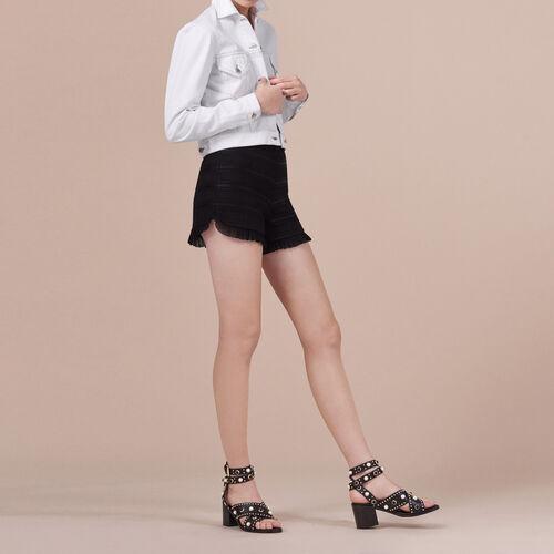 Shorts mit hohem Bund und Volants - Röcke & Shorts - MAJE