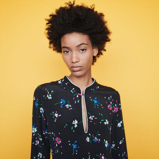마쥬 원피스 MAJE 119RILITA Krepp Kleid mit Paspel Print - Mehrfarbigen