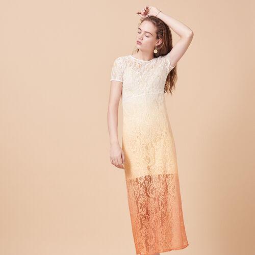 Langes Tie & Dye-Kleid aus Spitze - Kleider - MAJE
