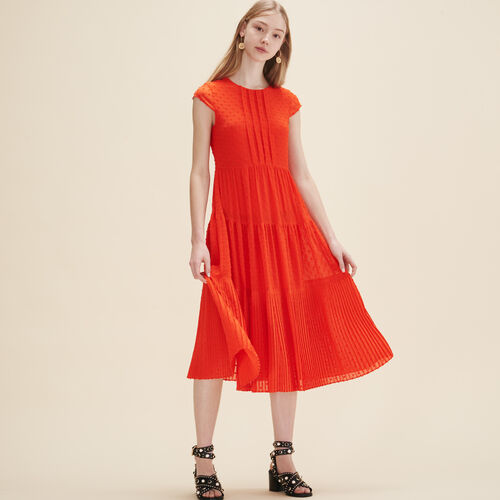 Langes Kleid aus Plumetis - Kleider - MAJE