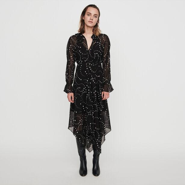 마쥬 원피스 MAJE 119RETRO Foulard Kleid aus Musselin - Schwarz