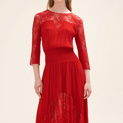 Langes Kleid aus Spitze - Kleider - MAJE