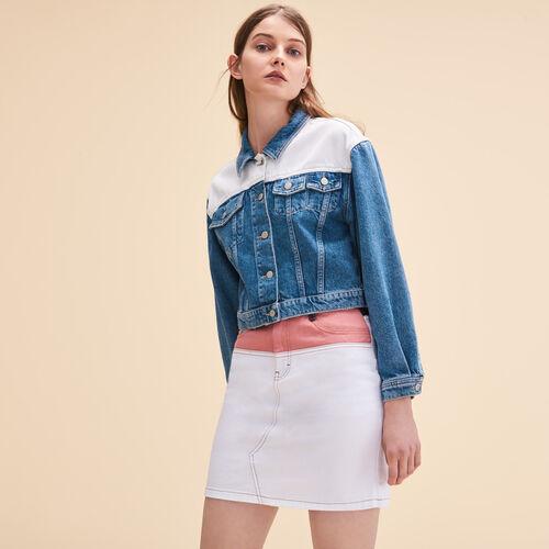 Zweifarbige Jacke aus Jeans - Jacken - MAJE