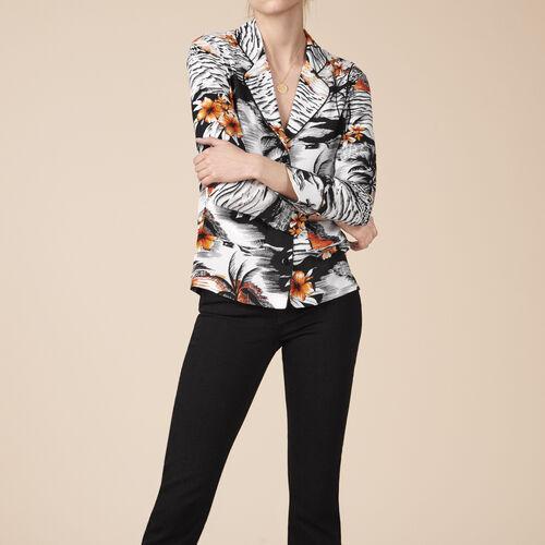 Bluse im Pyjama-Stil mit Aufdruck - Tops - MAJE