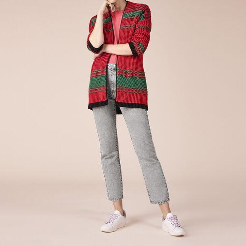 Zweifarbiger Cardigan aus Perlstrick - Pullover und Cardigans - MAJE