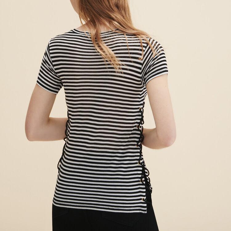Matrosen-T-Shirt mit Flechtdetails - Tops - MAJE