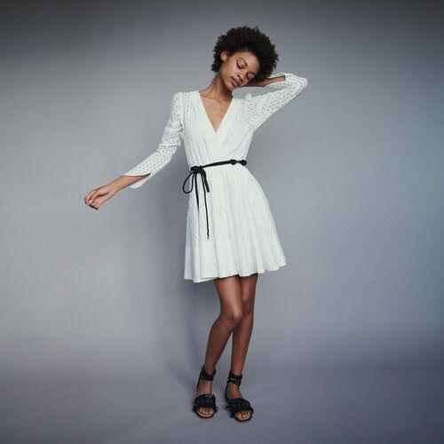 마쥬 RALINA 기픠르 레이스 원피스 - 레드, 화이트 (송혜교 화이트 착용) MAJE Kleid mit Geometrischer Guipure - Kleider