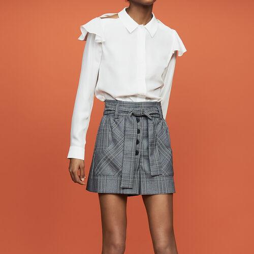 [50% SALE] 18 F/W 마쥬 셔츠 MAJE CHELLA Seidenbluse mit Volants - Hemden,Weiss