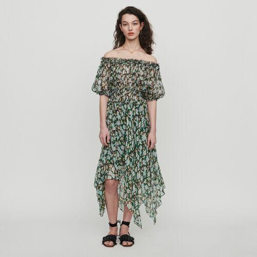 마쥬 RULLI 플로럴 프린트 오프 숄더 롱 원피스 MAJE RULLI Langes gesmoktes Kleid mit Blumenprint - IMPRIME