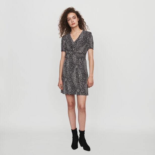 마쥬 원피스 MAJE 119RIPI Gerafftes Kleid mit Jacquard Print - Schwarz