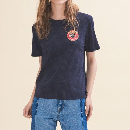 T-Shirt mit Stickerei Dienstag - Tops - MAJE
