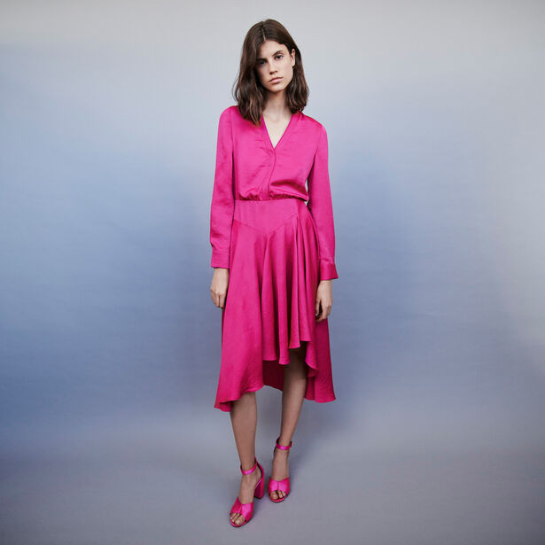 마쥬 원피스 MAJE 119RUSHIA Asymmetrisches Satin Kleid - Fuchsiafarben
