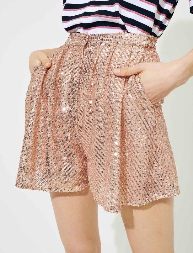 마쥬 시퀸 반바지 - 메탈릭 핑크 MAJE 220IPAILLETTE Pailletten-Shorts