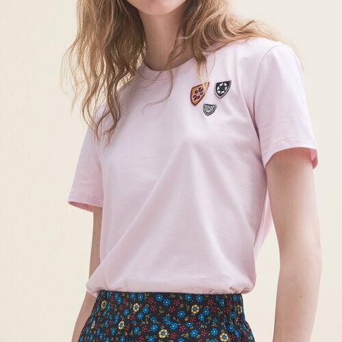 마쥬 THEODORA 베이직 티셔츠 MAJE THEODORA Basic-T-Shirt aus Baumwolle - T-shirts,Rosa