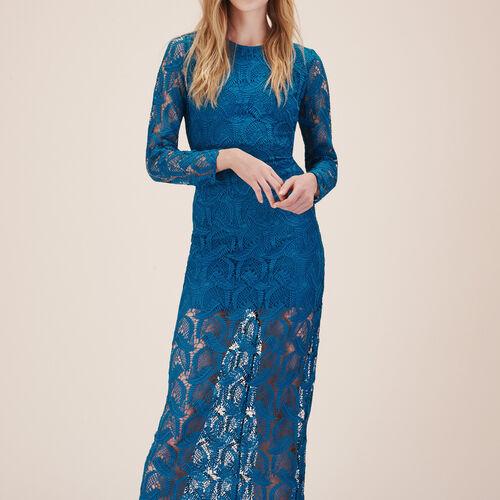 Langes Kleid aus fantasievoller Spitze - Kleider - MAJE
