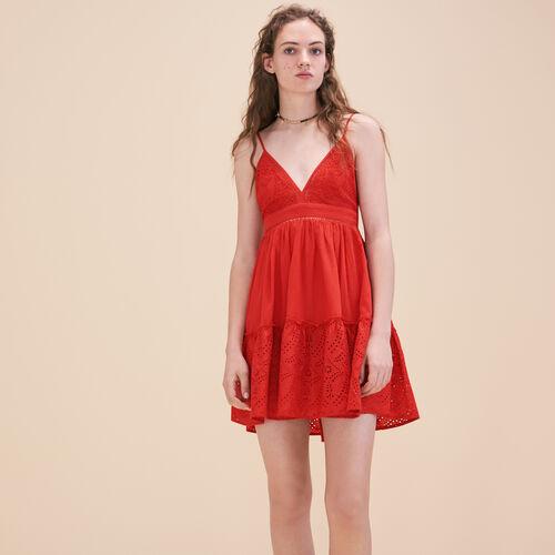 Besticktes Kleid mit schmalen Trägern - Kleider - MAJE