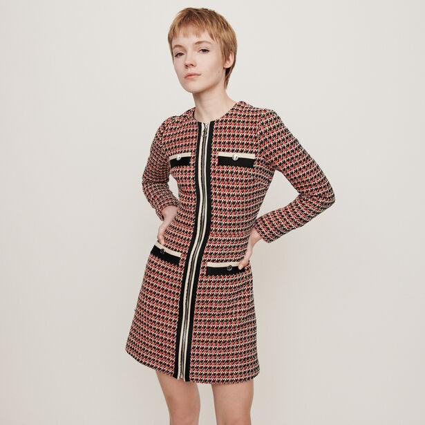 마쥬 원피스 MAJE 119ROMANE Kleid mit konstrastierendem Tweed - Rot