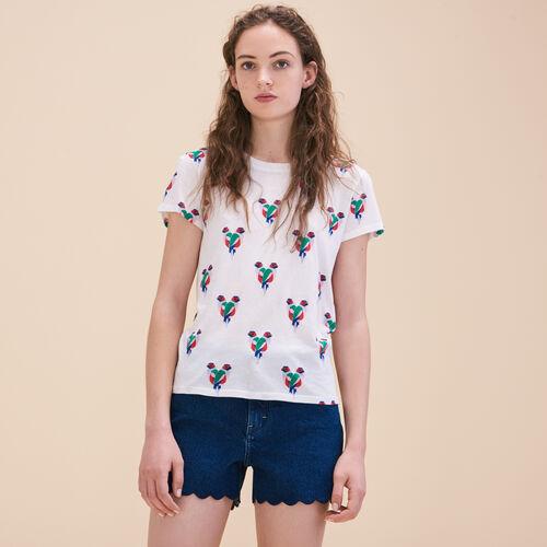 T-Shirt mit Papageienmotiv - Tops - MAJE