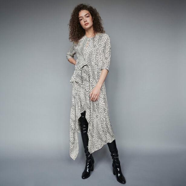 마쥬 원피스 MAJE 119ROSA Asymmetrisches Kleid mit Jacquard Print - Weiss
