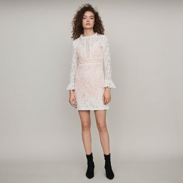 마쥬 원피스 MAJE 119RILINE Kleid mit Kaschmir Motiven - Ecru