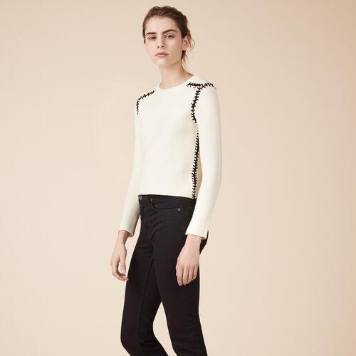 Pullover aus Wollmix mit Ajourdetails - Strickwaren - MAJE