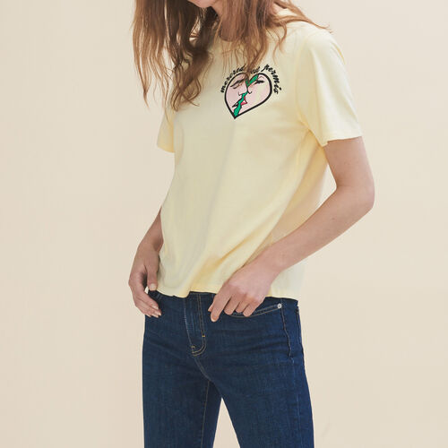 마쥬 THEATRO 티셔츠 MAJE THEATRO T-Shirt mit Stickerei Mittwoch, Gelb
