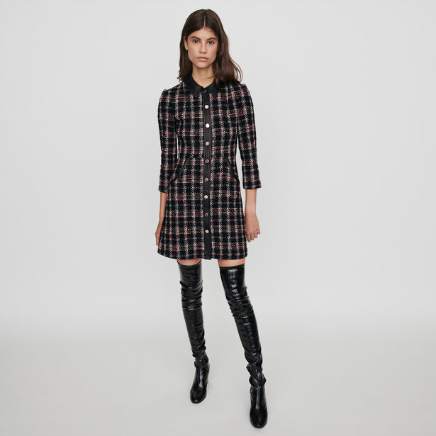 마쥬 원피스 MAJE 119RENATY Kleid mit konstrastierenden Tweed - Schwarz