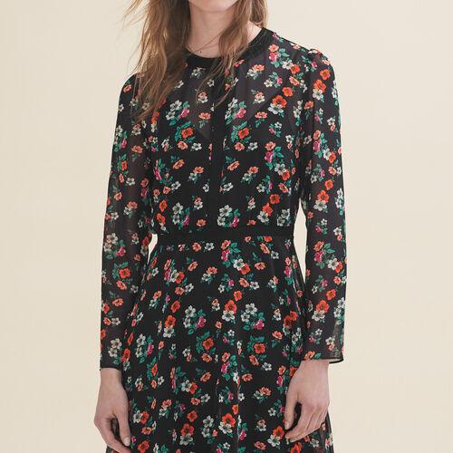 Bedrucktes Kleid mit Rippenborte - Kleider - MAJE