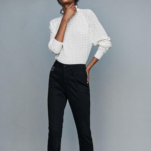 [50% SALE] 18 F/W 마쥬 청바지 MAJE PARLOECO Gerade Jeans mit Tartan-Details - Jeans,Schwarz