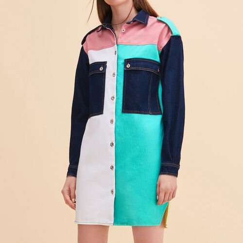 Hemdkleid aus mehrfarbigem Denim - Kleider - MAJE