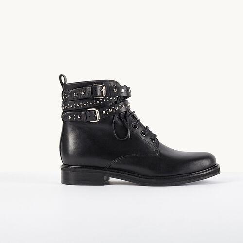 Lederstiefeletten mit Riemchen - Schuhe - MAJE