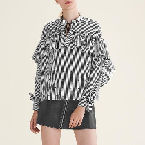 Gestreifte Bluse mit Rüschen - Tops - MAJE