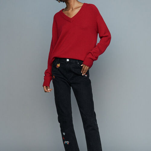 [50% SALE] 18 F/W 마쥬 청바지 MAJE PATCH Gerade Jeans mit Stickereien - Jeans,Grau