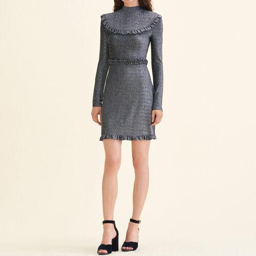 Kurzes Kleid aus Strick mit Volants - Kleider - MAJE